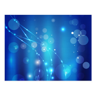 Blue Circle and Ribbons Of Light Pattern Custom Postcard