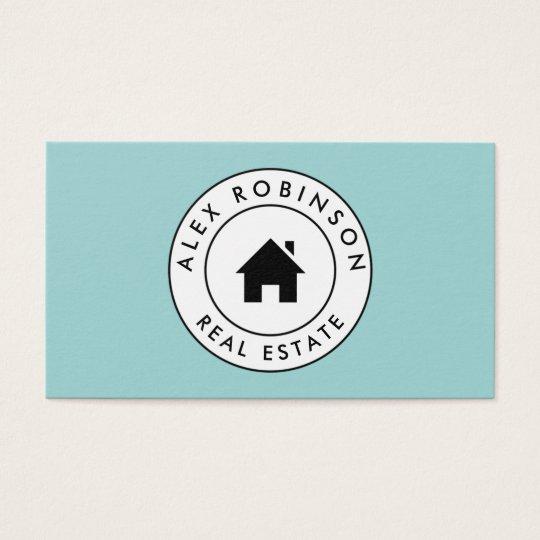 Blue circle house logo real estate business card