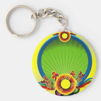 blue-circle basic round button key ring