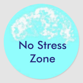 blue circle, No Stress Zone Round Sticker