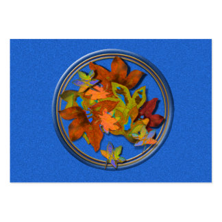 Blue Circled Fall Leaves Pack Of Chubby Business Cards