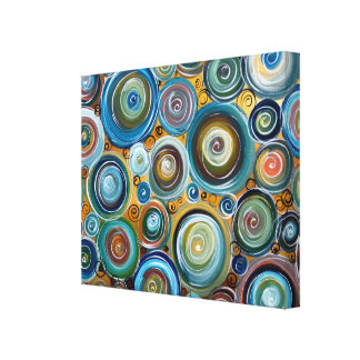 Blue Circles Abstract Art Gallery Wrapped Canvas