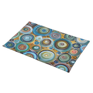 Blue Circles Abstract Art Placemats
