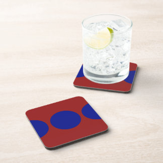 Blue Circles on Red Beverage Coaster