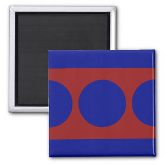 Blue Circles on Red Square Magnet