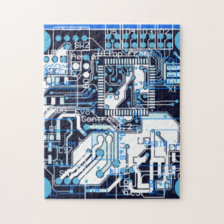 Blue Circuit Board Jigsaw Puzzle
