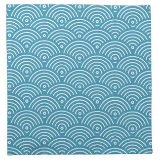 Blue circular wave pattern printed napkins
