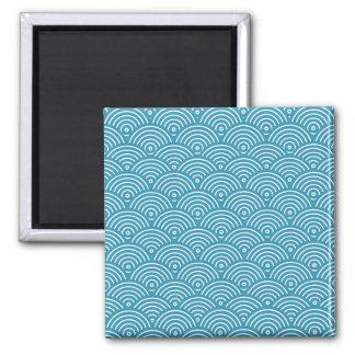 Blue circular wave pattern square magnet