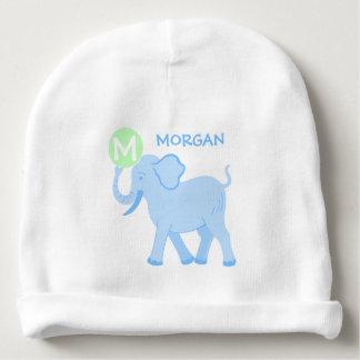 Blue Circus | Baby Boy Cute Elephant Monogram Baby Beanie