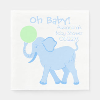 Blue Circus   Baby Shower Boy Elephant Oh Baby Paper Napkin