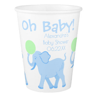 Blue Circus | Baby Shower Cute Boy Personalized Paper Cup