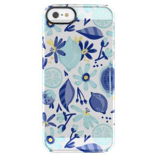 Blue Citrus Painted Pattern Clear iPhone SE/5/5s Case