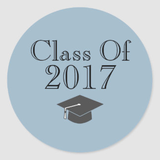 "Blue ""Class Of 2017"" with Graduation Cap Classic Round Sticker"