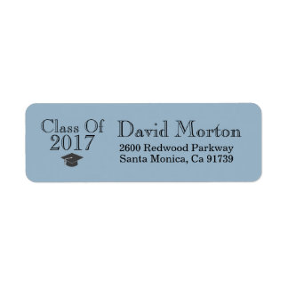Blue Class Of 2017 with Graduation Cap Return Address Label