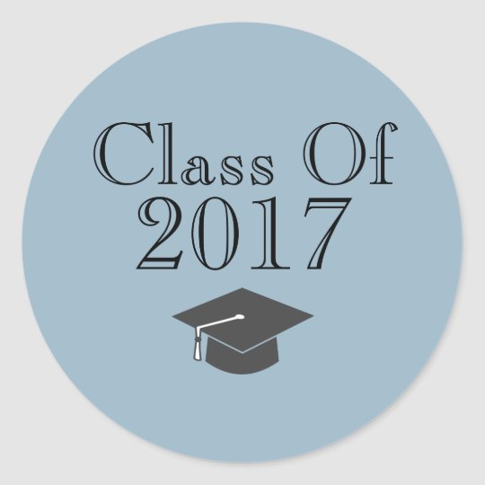 """Blue """"Class Of 2017"""" with Graduation Cap Round"""