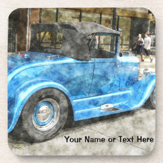 Blue Classic Car Convertible Top Downtown Painted Beverage Coaster