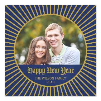 Blue Classic Decorative Happy New Year Photo Magnetic Invitations