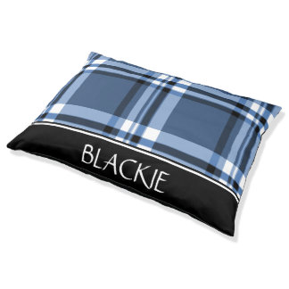Blue Classic Plaid Personalized Pet Bed