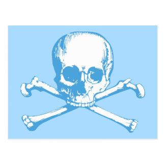 Blue Classic Skull and Crossbones Postcard