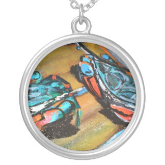 Blue Claws Round Pendant Necklace