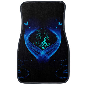 Blue clef with butterfly car mat