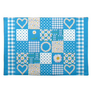 Blue Cloth Placemat: Daisychains Faux Patchwork Placemat
