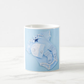 Blue clothes for boy baby shower coffee mug