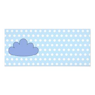 Blue Cloud on Blue and White Polka Dots. 10 Cm X 24 Cm Invitation Card