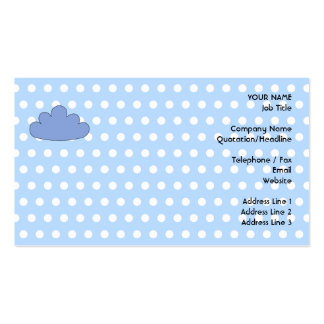 Blue Cloud on Blue and White Polka Dots. Business Card