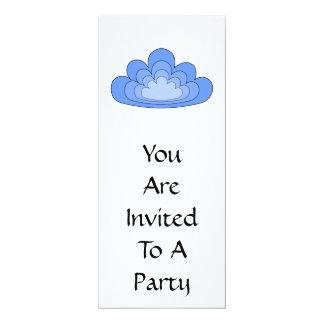 Blue Cloud on White Background. 10 Cm X 24 Cm Invitation Card