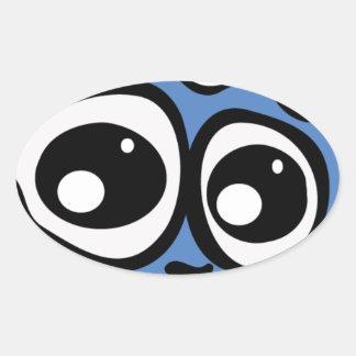 Blue Cloud Oval Sticker