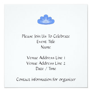 Blue Cloud with Smile on White. 13 Cm X 13 Cm Square Invitation Card