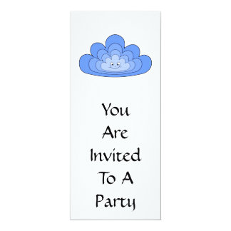 Blue Cloud with Smile on White. 10 Cm X 24 Cm Invitation Card