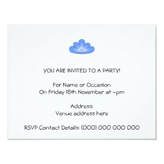 Blue Cloud with Smile on White. 11 Cm X 14 Cm Invitation Card