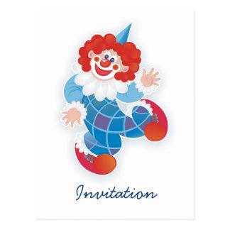 blue clown postcard