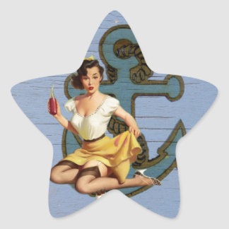 blue coastal ship and anchor pool party girl star sticker