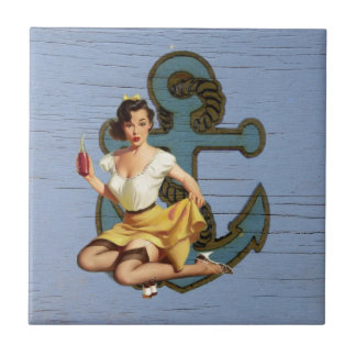 blue coastal ship and anchor pool party girl tile