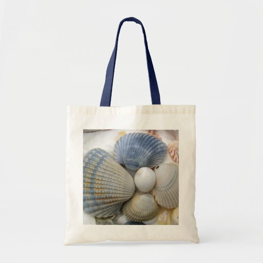 Blue Cockle Shells Beach Bag