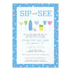 Blue Cocktail New Baby Boy Sip and See Invitation