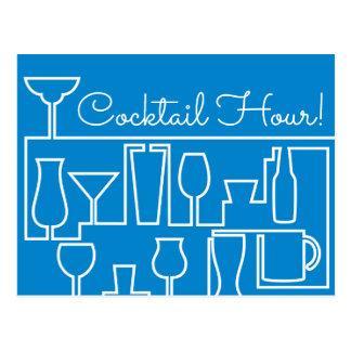 Blue cocktail party postcard