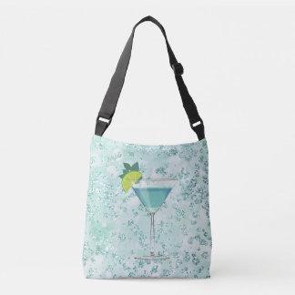 Blue Cocktail w/ Lemon Bokeh Bling Crossbody Bag