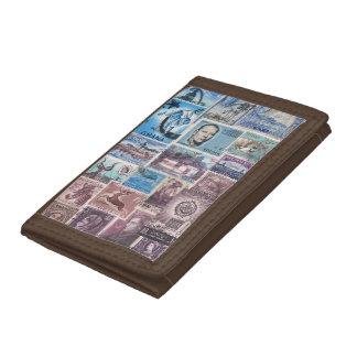 Blue Cocoa Wallet, Coastal Landscape, Stamp Art Tri-fold Wallet