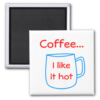 blue coffee cup for your own text square magnet