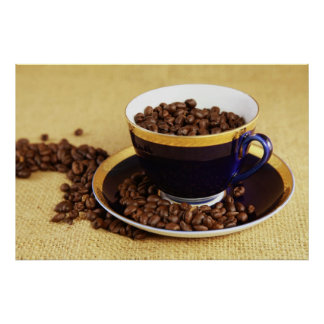 Blue coffee cup kitchen picture poster