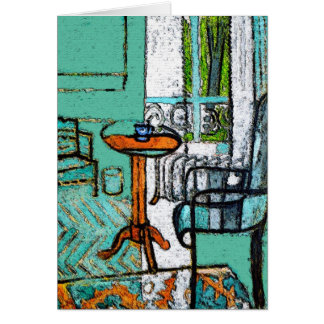 Blue Coffee Cup, Matisse Style Card