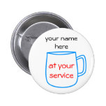 Blue coffee cup name tag