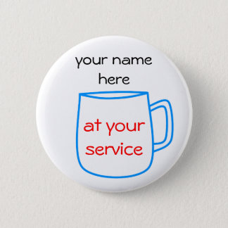 Blue coffee cup name tag 6 cm round badge