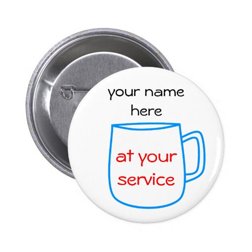 Blue coffee cup name tag buttons