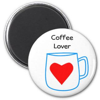 blue coffee cup transparent 6 cm round magnet