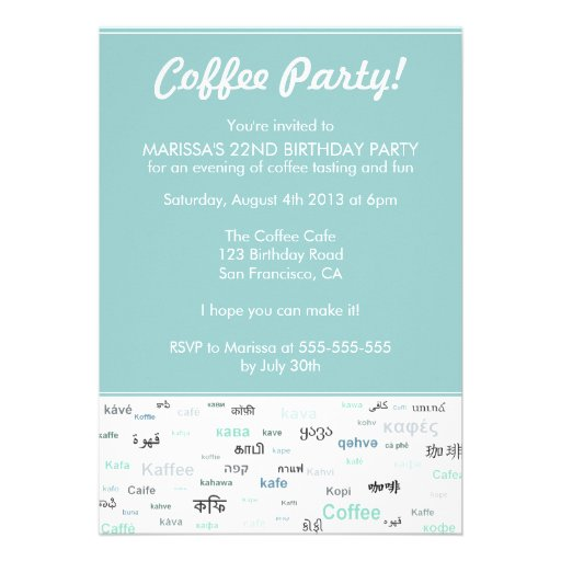 Blue Coffee themed birthday party invitations